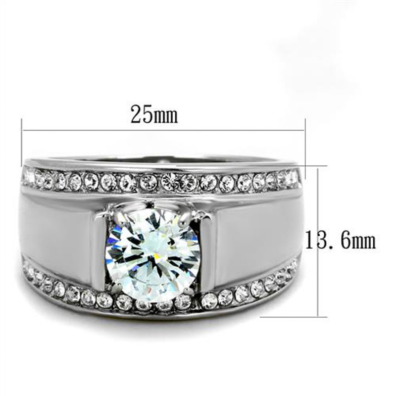 ARTK2054 Stainless Steel Men's 2.25 Ct Round Cut Simulated Diamond Silver Ring Sizes 8-13
