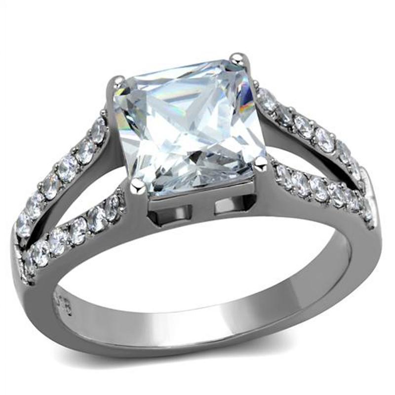 Stainless Steel 2.75 Ct Princess Cut AAA Zirconia Engagement Ring Women's Sz 5-10