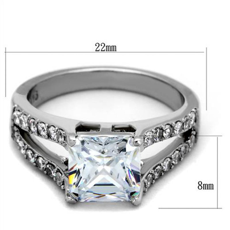 ARTK2112 Stainless Steel 2.75 Ct Princess Cut AAA Zirconia Engagement Ring Women's Sz 5-10