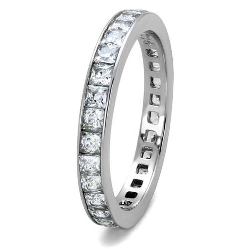 ARTK2344 Women's Princess Cut AAA CZ Eternity Anniversary Wedding Ring Band Size 5-10