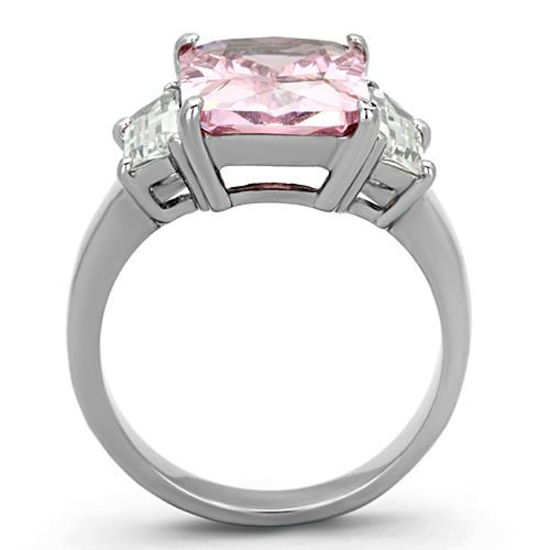 ARTK1224 Stainless Steel 6.64 Ct Emerald Cut Rose Zirconia Engagement Ring Womens Sz 5-10