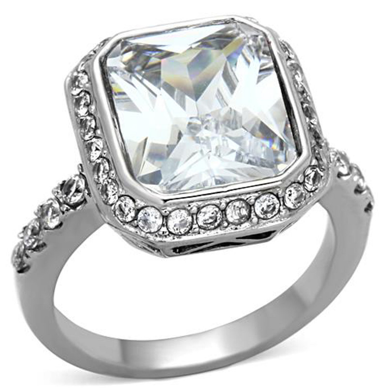 Stainless Steel 6.38 Ct Halo Emerald Cut Zirconia Engagement Ring Womens Sz 5-10
