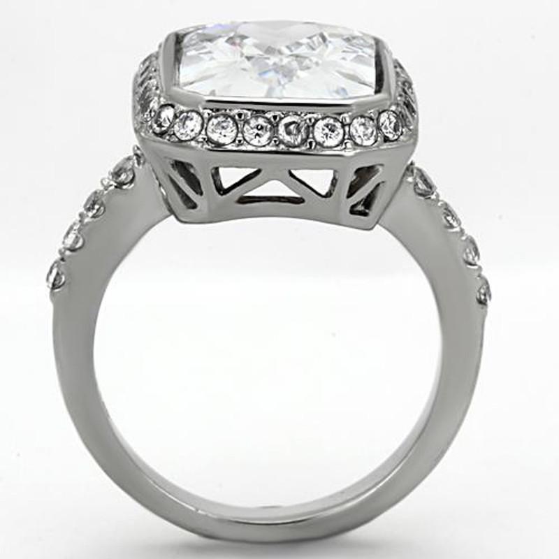 ARTK1226 Stainless Steel 6.38 Ct Halo Emerald Cut Zirconia Engagement Ring Womens Sz 5-10