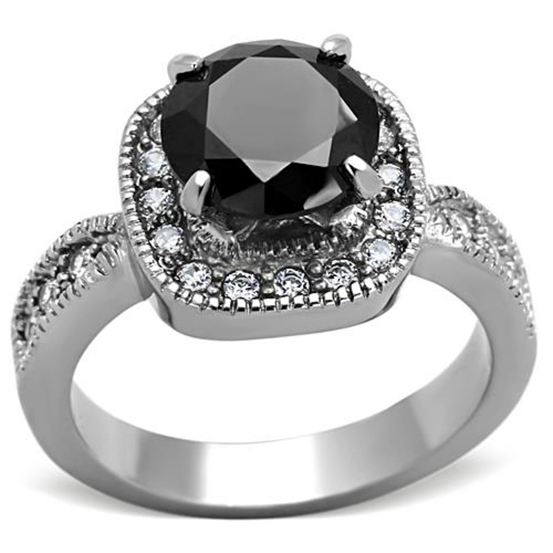 Stainless Steel 3 Ct Round Cut Faux Black Diamond Halo Engagement Ring Size 5-10