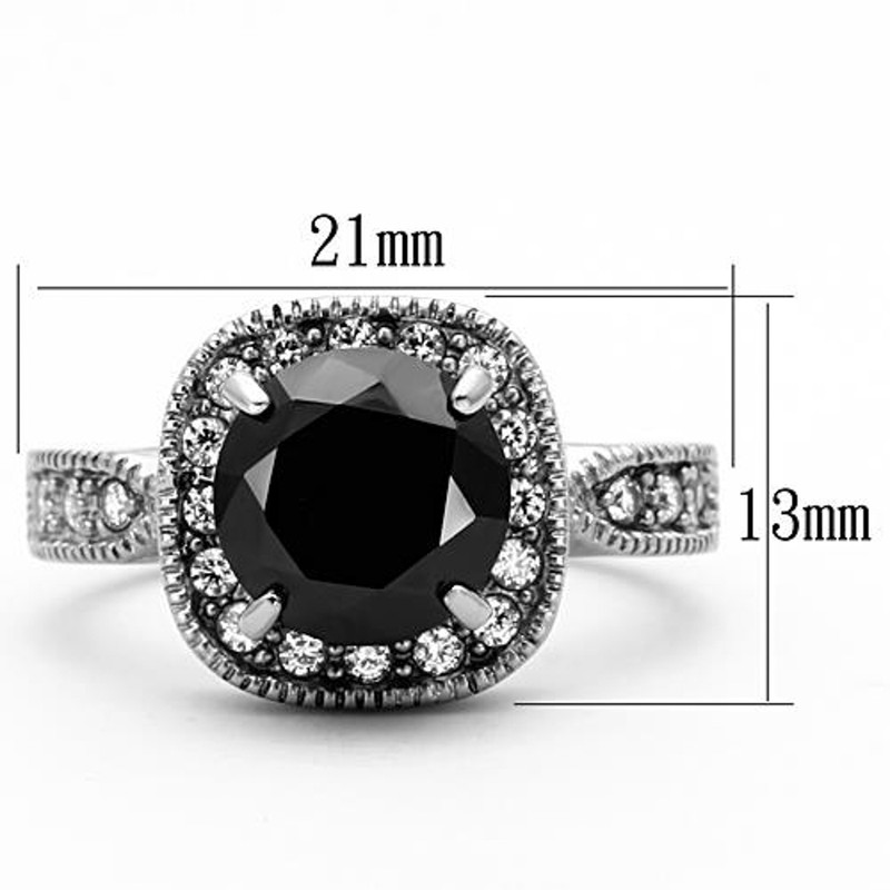 ARTK1322 Stainless Steel 3 Ct Round Cut Faux Black Diamond Halo Engagement Ring Size 5-10