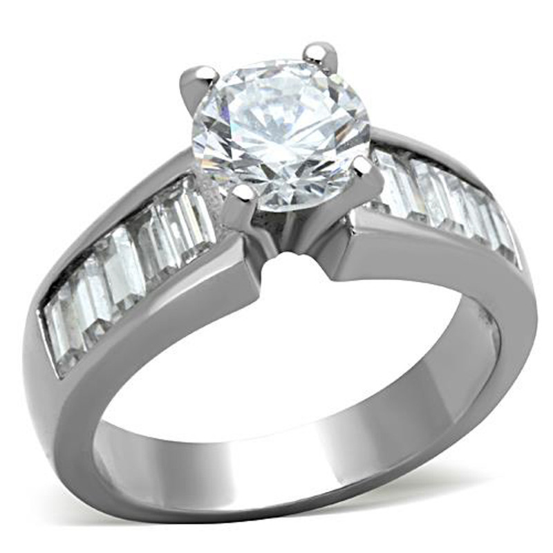 Stainless Steel 2.97 Ct Round Cut & Baguettes CZ Engagement Ring Women's Sz 5-10