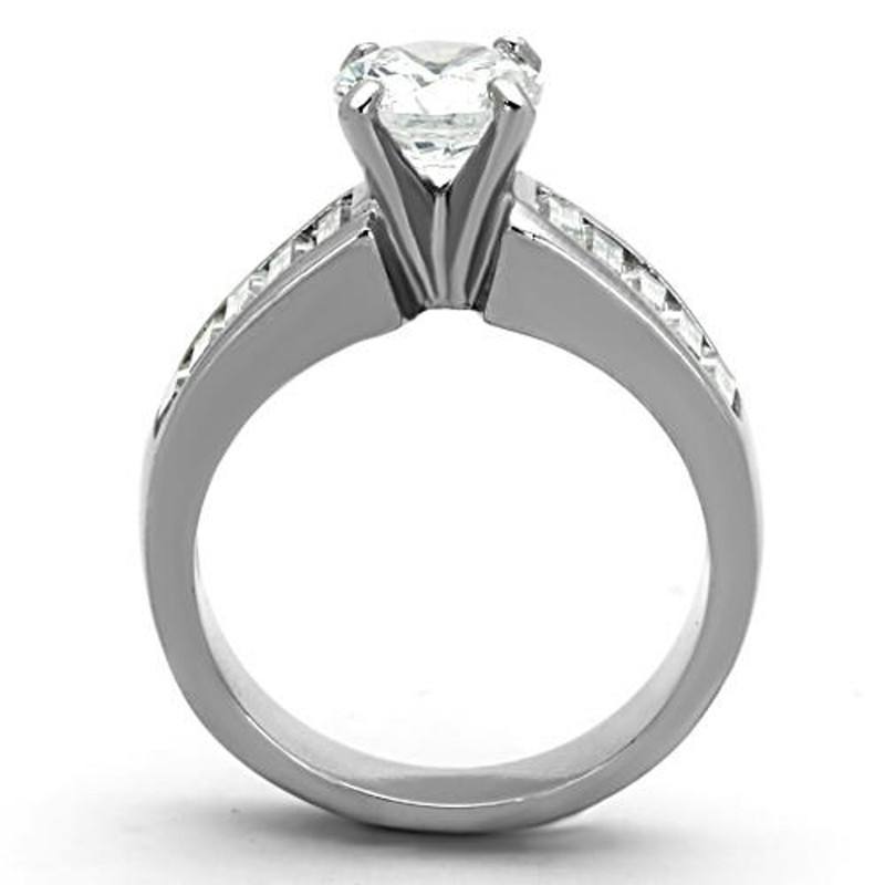 ARTK1332 Stainless Steel 2.97 Ct Round Cut & Baguettes CZ Engagement Ring Women's Sz 5-10