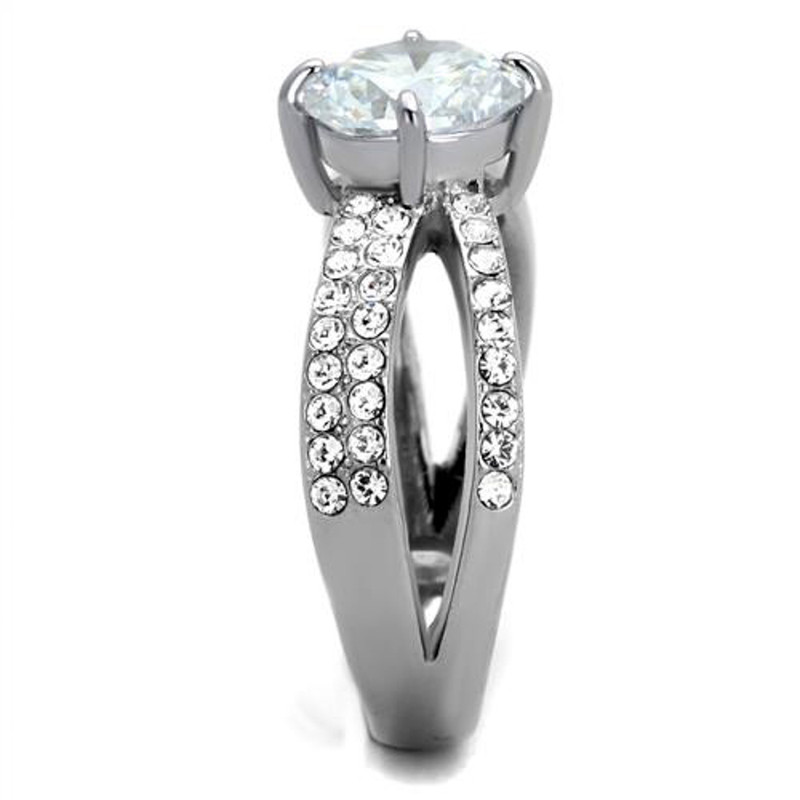 ARTK2165 Stainless Steel 2.56 Ct Round Cut CZ Split Band Engagement Ring Women's Size 5-10
