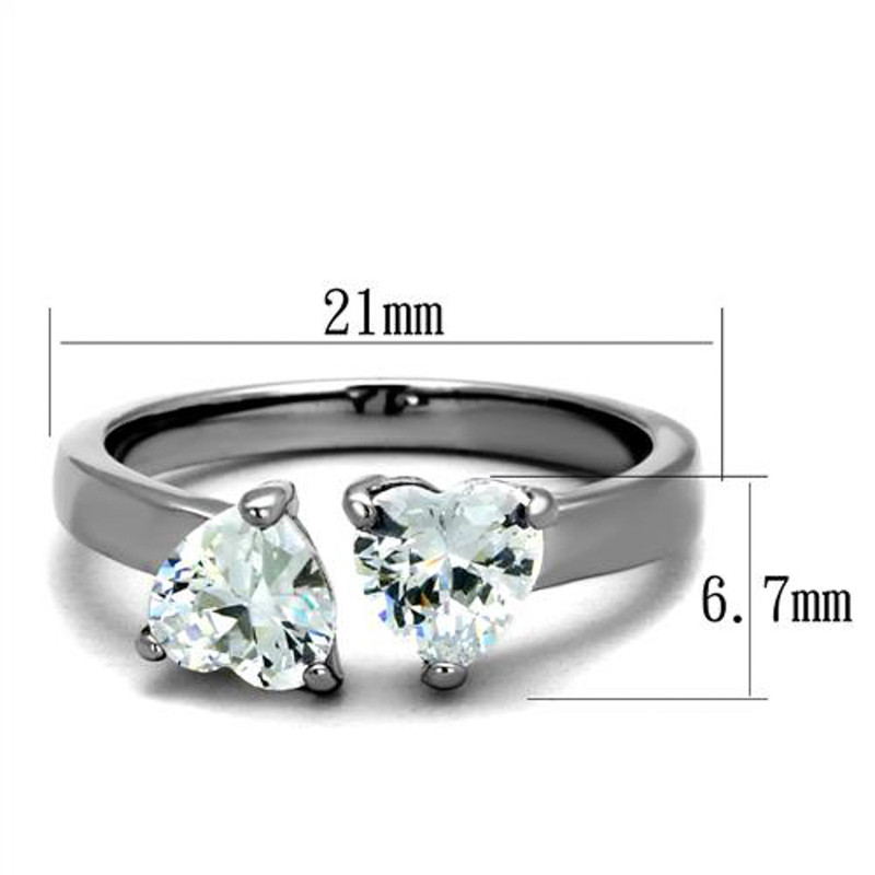 ARTK2167 Stainless Steel 1.48 CT Heart Shape Zirconia Promise/Cuff Ring Women's Size 5-10