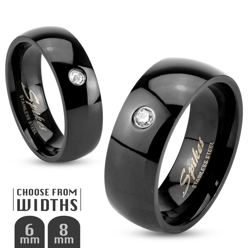 AR013 Stainless Steel 316L Black IP Faux Diamond Wedding Band Ring 6mm or 8mm Sz 5-14