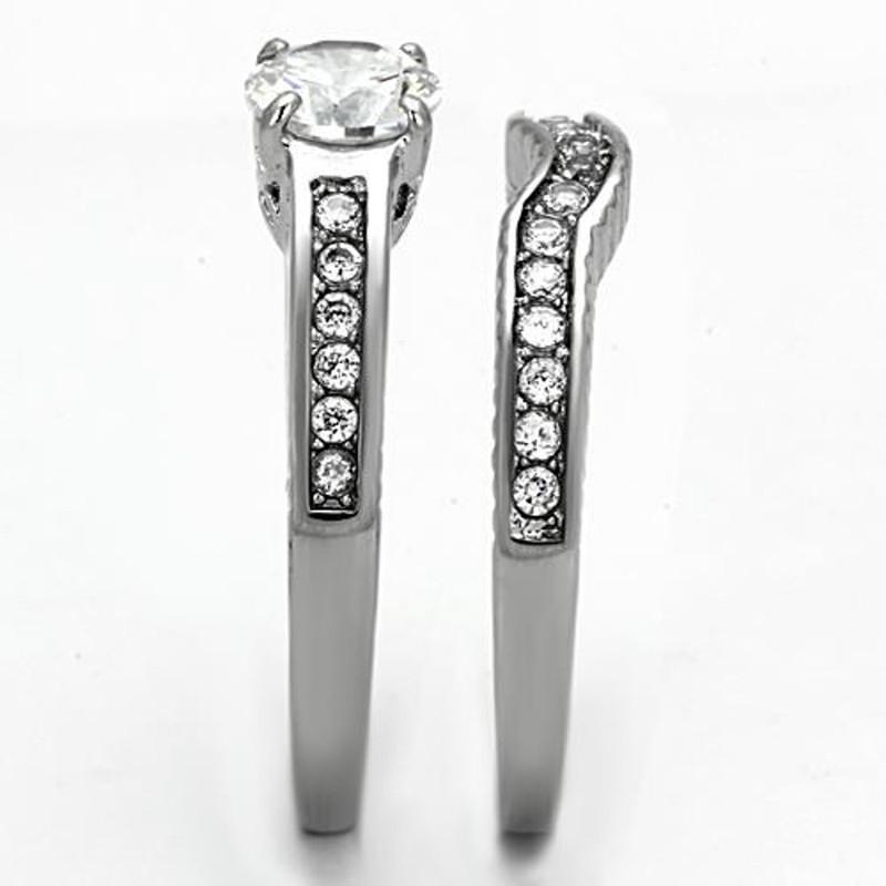 ARTK1231 Stainless Steel 1.75 Ct Round Cut Cubic Zirconia Wedding Ring Set Womens Sz 5-10