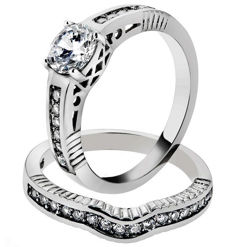 Stainless Steel 1.75 Ct Round Cut Cubic Zirconia Wedding Ring Set Womens Sz 5-10
