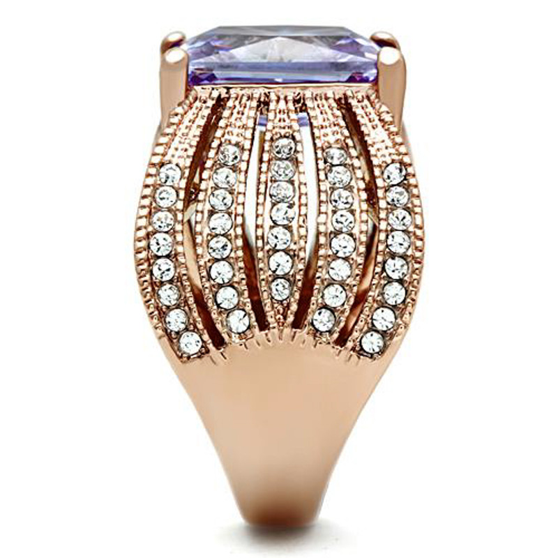 ARTK1490 Stainless Steel Womens Light Amethyst Emerald Cut CZ Rose Gold Plated Ring 5-10
