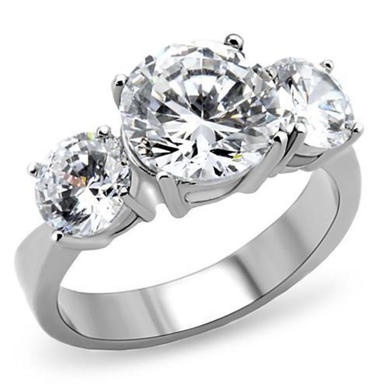 Stainless Steel Women's Three Stone Zirconia Anniversary Engagement Ring Sz 5-10