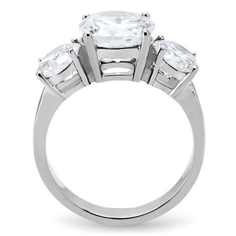 ARTK168 Stainless Steel Women's Three Stone Zirconia Anniversary Engagement Ring Sz 5-10