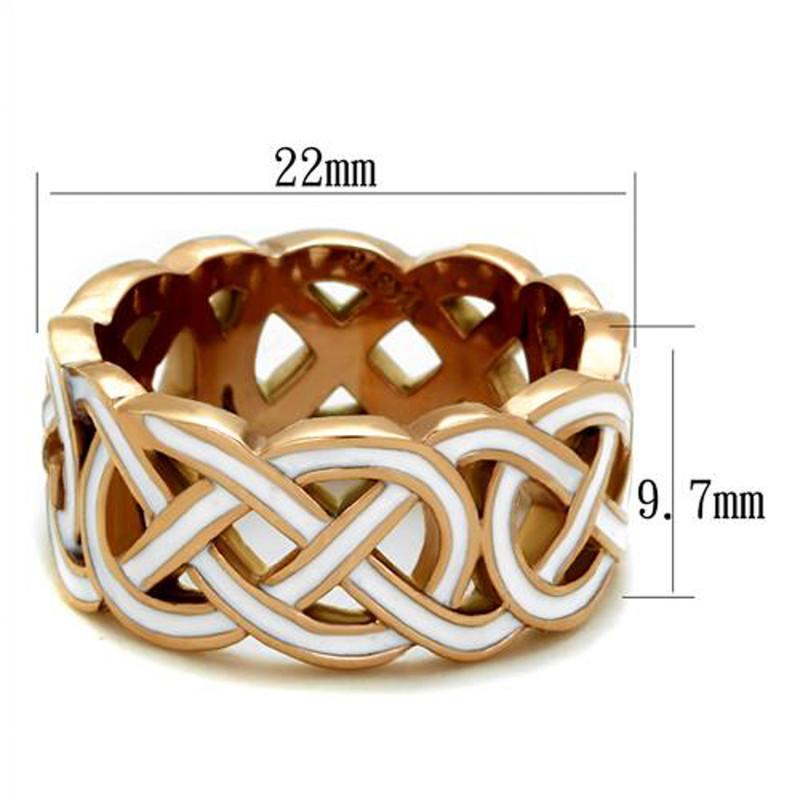ARTK2159 Stainless Steel Rose Gold Plated & White Epoxy Design Fashion Ring Women Sz 5-10