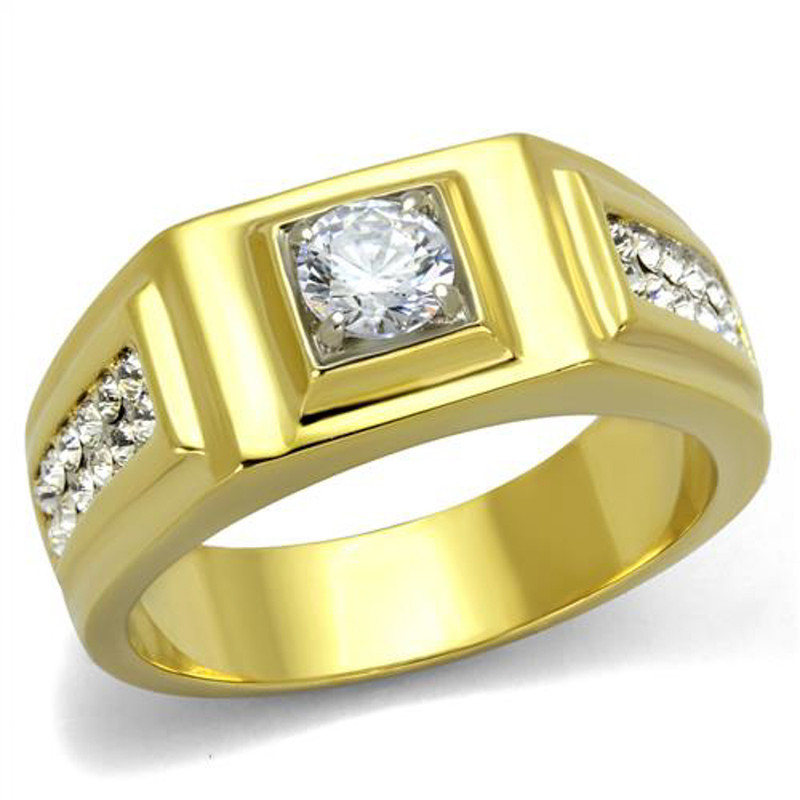 Stainless Steel Men's 1.18 Ct Faux Diamond 14k Gold Ion Plated Ring Sizes 8-13