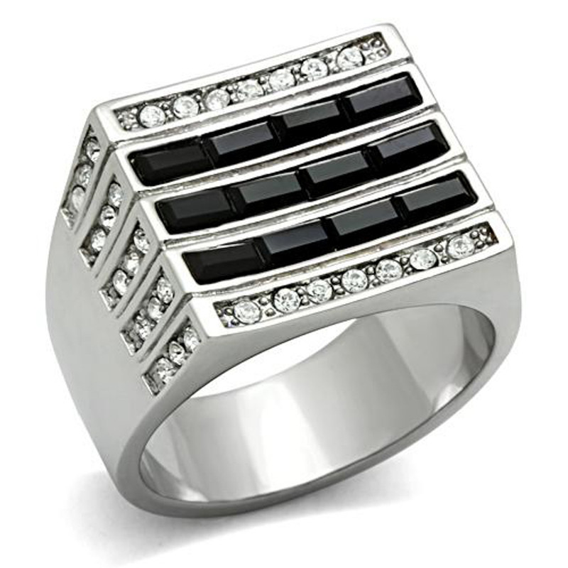 Stainless Steel Men's 3.5 Ct Black & Clear Faux Diamond Silver Ring Sizes 8-13