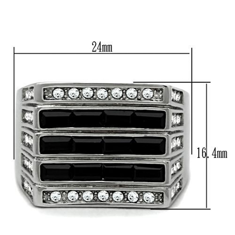 ARTK321 Stainless Steel Men's 3.5 Ct Black & Clear Faux Diamond Silver Ring Sizes 8-13