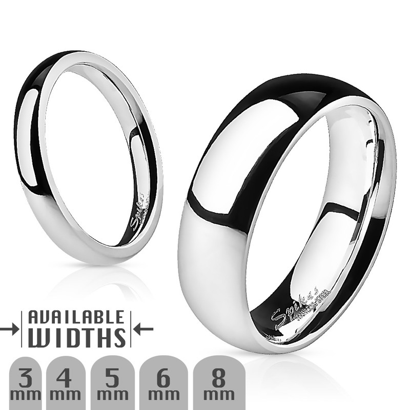 AR001 Stainless Steel 316L High Polished Wedding Band Ring 3mm-8mm Wide Sizes 4.5-14