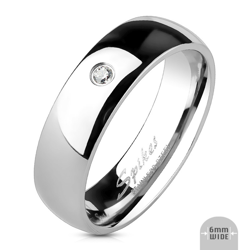 AR011  Stainless Steel 316L Cubic Zirconia Classic Wedding Band Ring 4 or 6mm Sz 4.5-13
