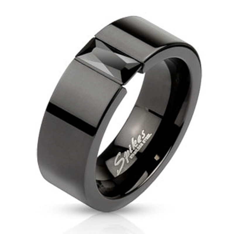 ARM2620 Stainless Steel Princess Cut Cz Black IP Wedding Ring Band Unisex Size 5-14