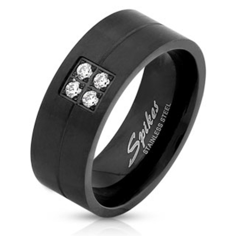 ARS1562K Stainless Steel Men's Brushed Black IP Faux Diamond Wedding Band Ring Size 9-13