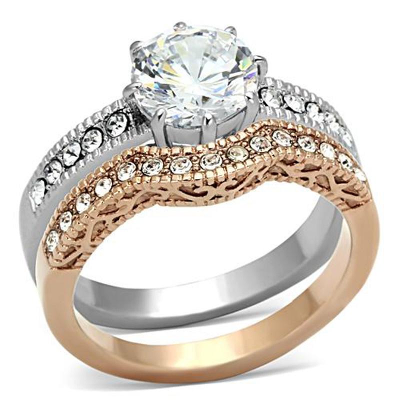 ARTK966 Stainless Steel 2.80 Ct Round Cut Zirconia Rose Gold IP Wedding Ring Set Sz 5-10