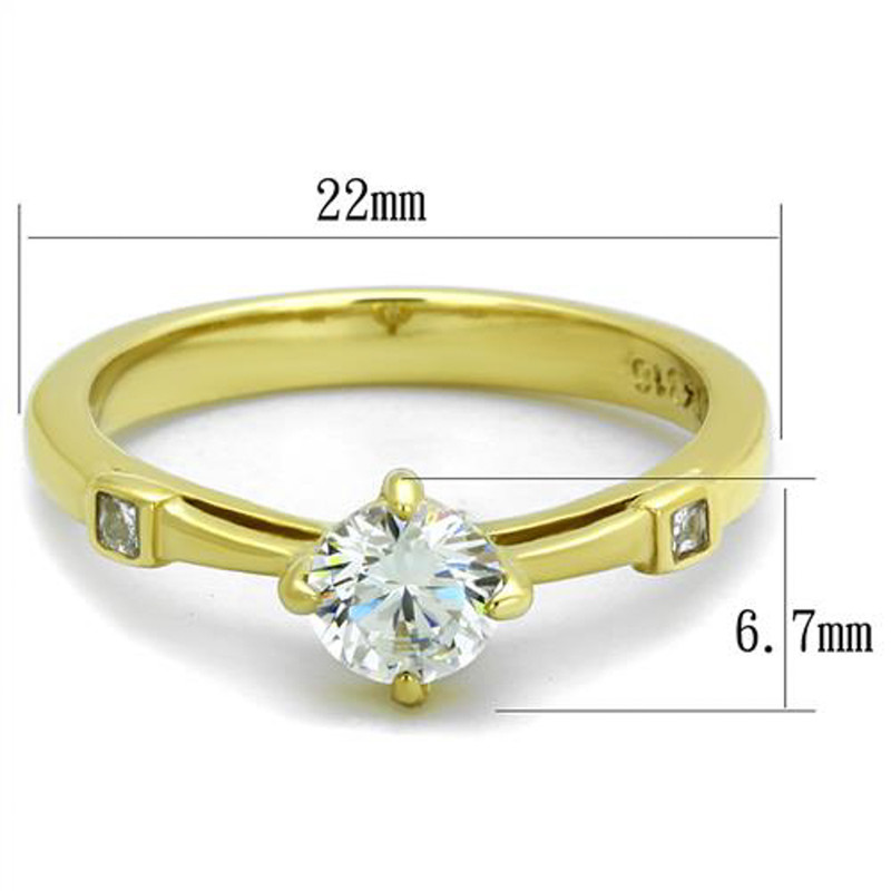 ARTK2170 Stainless Steel .69Ct Round Cut Cz 14K Gold Plated Engagement Ring Women's Sz 5-10
