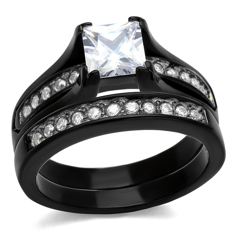 ARTK0W383J  Stainless Steel 2.10 Ct Princess Cut Zirconia BlackWedding Ring Set Womens Size 5-10
