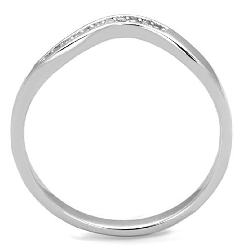 ARTK1682 Stainless Steel .06 Ct Cubic Zirconia Curved Band Promise Ring Women's Size 5-10