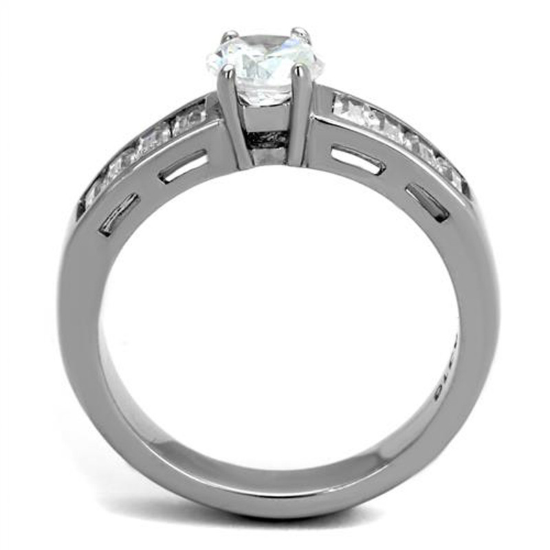 ARTK2117 Stainless Steel 1.64 Ct Round Cut & Baguettes Cz Engagement Ring Women's Sz 5-10