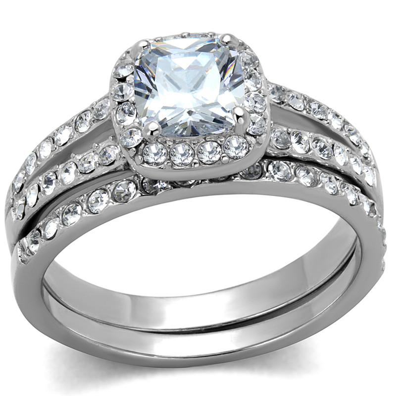 ARTK2180 Stainless Steel 1.8 Ct Halo Princess Cut CZ Wedding Ring Set Women's Size 5-10