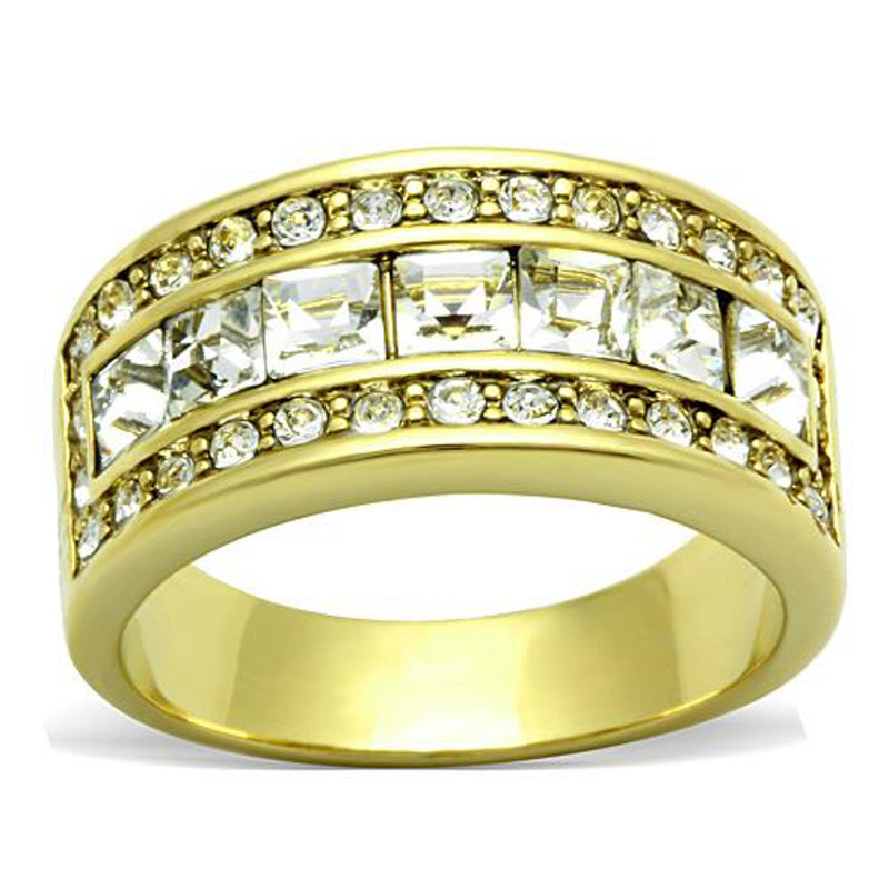 1.4 Ct Princess & Round Cut Crystal Stainless Steel 14k GP Anniversary Ring