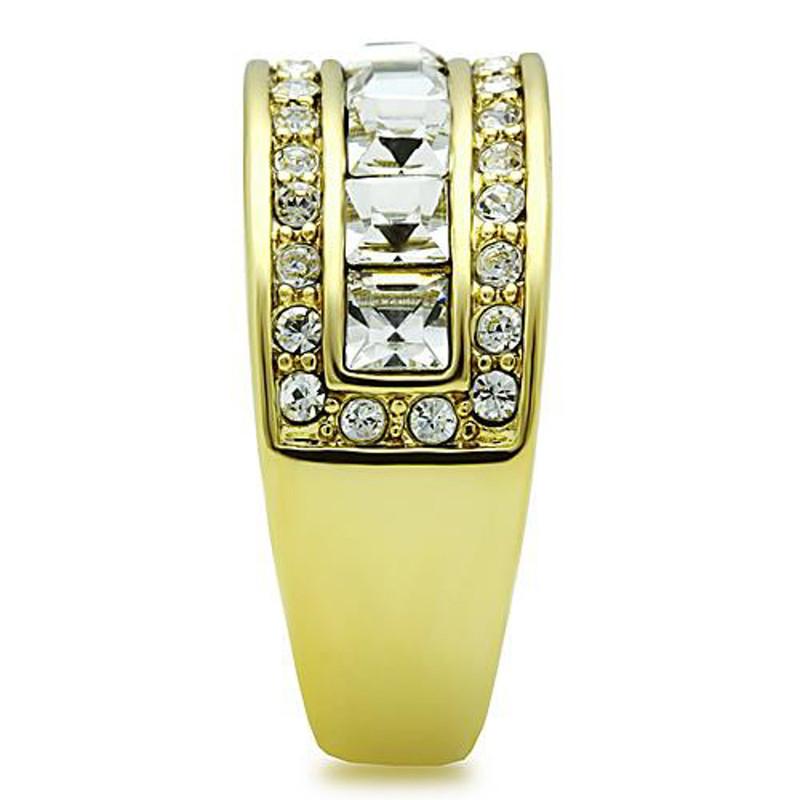 ARTK1386 Stainless Steel 1.4 Ct Princess & Round Cut Crystal 14k GP Anniversary Ring