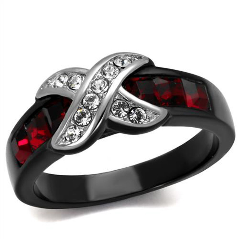 1.50 CT RUBY RED & CLEAR CZ BLACK STAINLESS STEEL FASHION RING SIZE