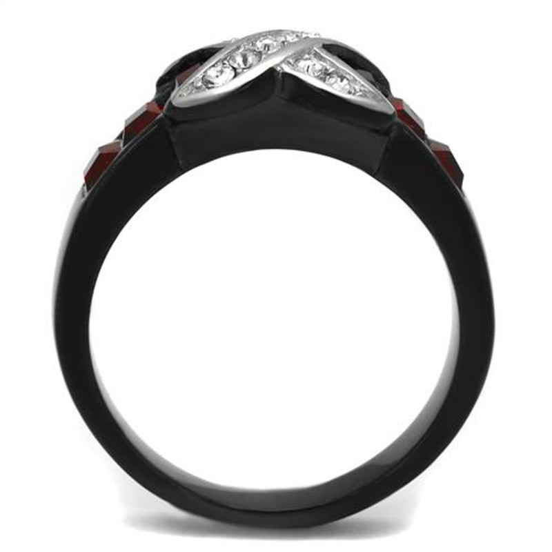 ARTK1388J Stainless Steel 1.50 Ct Ruby Red & Clear CZ Black Fashion Ring Size Women's 5-10