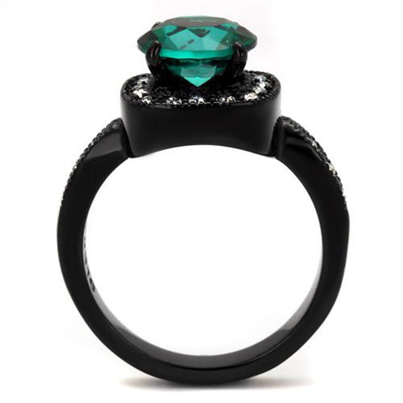 ARTK2209 Black Halo Design 3.25 Ct Round Cut Blue Zircon & Clear CZ Fashion Ring Size 5-10