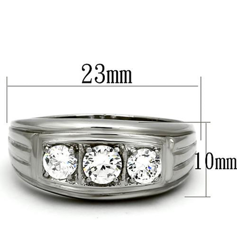 ARTK946 Stainless Steel Men's Round Cut Simulated Diamond Silver 316 Ring Sizes 8-13