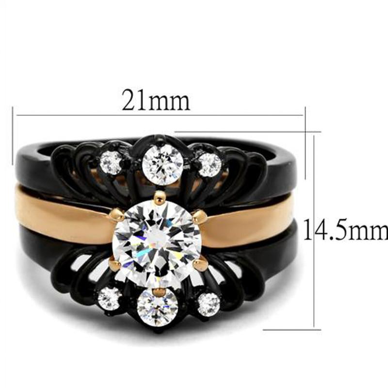 ARTK2189 Stainless Steel Women's Rose Gold & Black  AAA CZ Wedding Ring Band Set Size 5-10