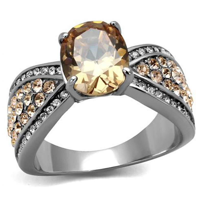 3.3 Ct Oval Cut Champagne CZ Stainless Steel Engagement Ring