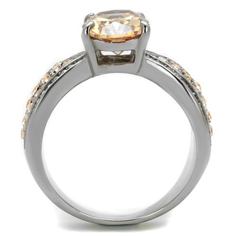 ARTK2249 Stainless Steel 3.3 Ct Oval Cut Champagne CZ Engagement Ring Women's Size 5-10