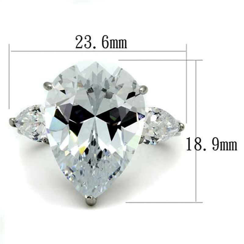 ARTK2256 Stainless Steel Womens 11.83Ct Pear Shape Cubic Zirconia Engagement Ring Sz 5-10