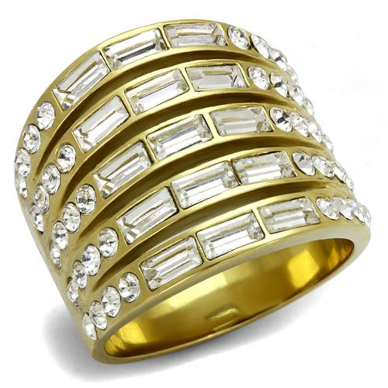 4.5Ct Baguette & Round Cut Crystal Stainless Steel 14k GP Anniversary Ring