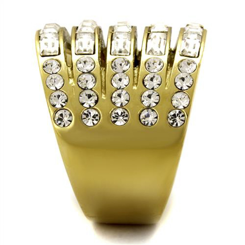 ARTK2362 Stainless Steel Women 4.5Ct Baguette & Round Cut Crystal 14k GP Anniversary Ring
