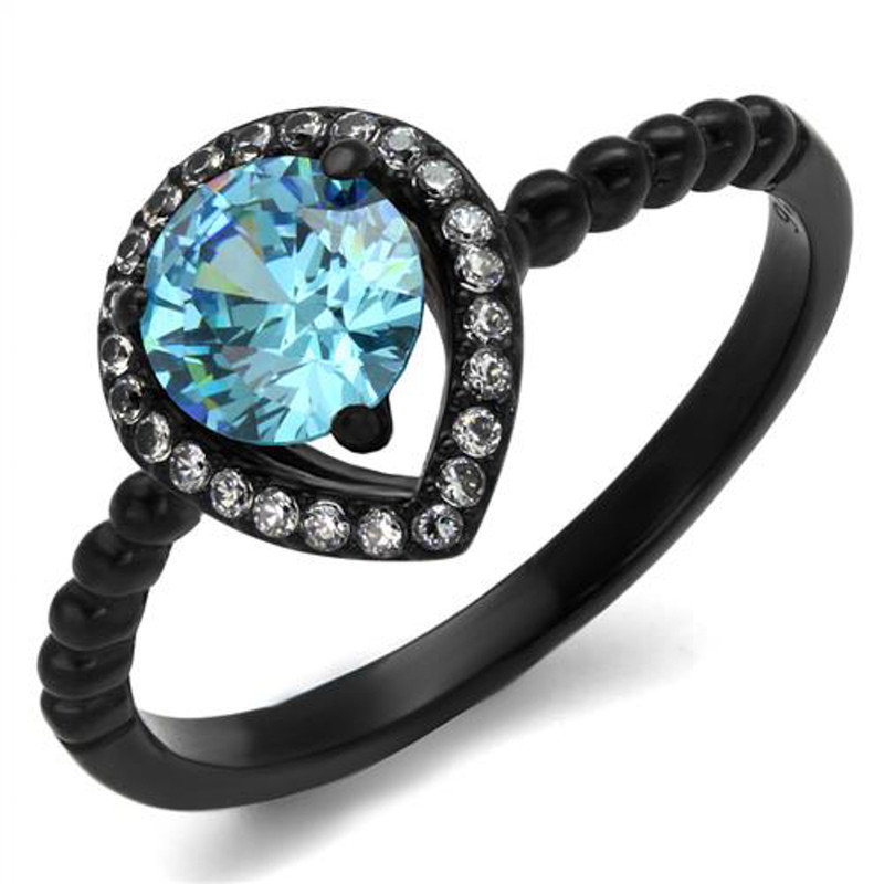 Women's .9 Ct Sea Blue Halo CZ Black Stainless Steel Engagement Ring