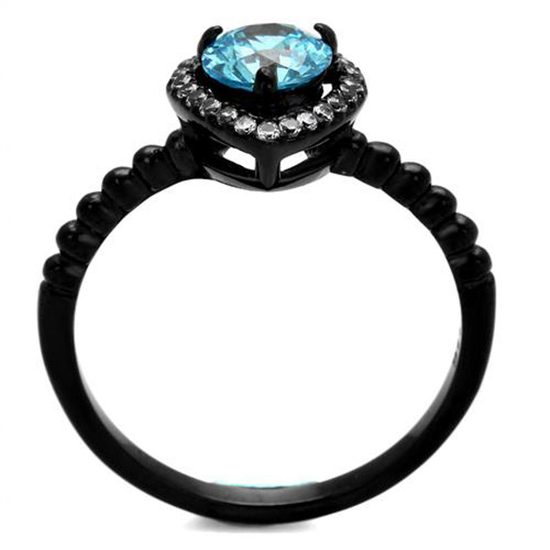 ARTK2364 Stainless Steel Women's .9 Ct Sea Blue Halo CZ Black Engagement Ring Size 5-10