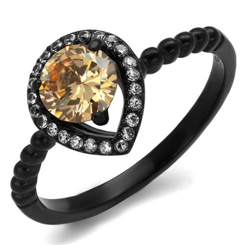 .9 Ct Champagne Halo CZ Black Stainless Steel Engagement Ring