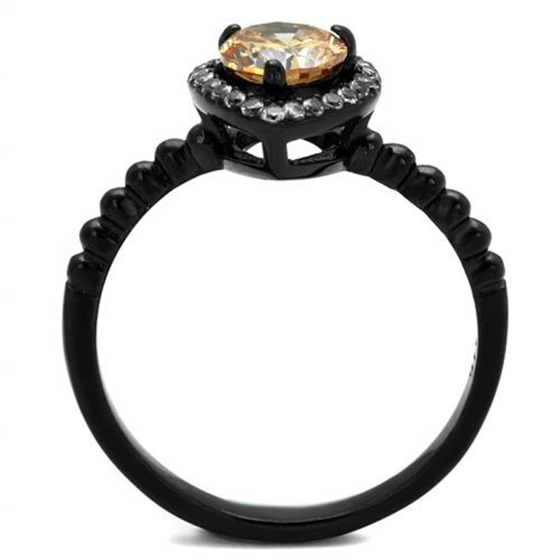 ARTK2365 Stainless Steel .9 Ct Champagne Halo CZ Black Engagement Ring Women's Sz 5-10