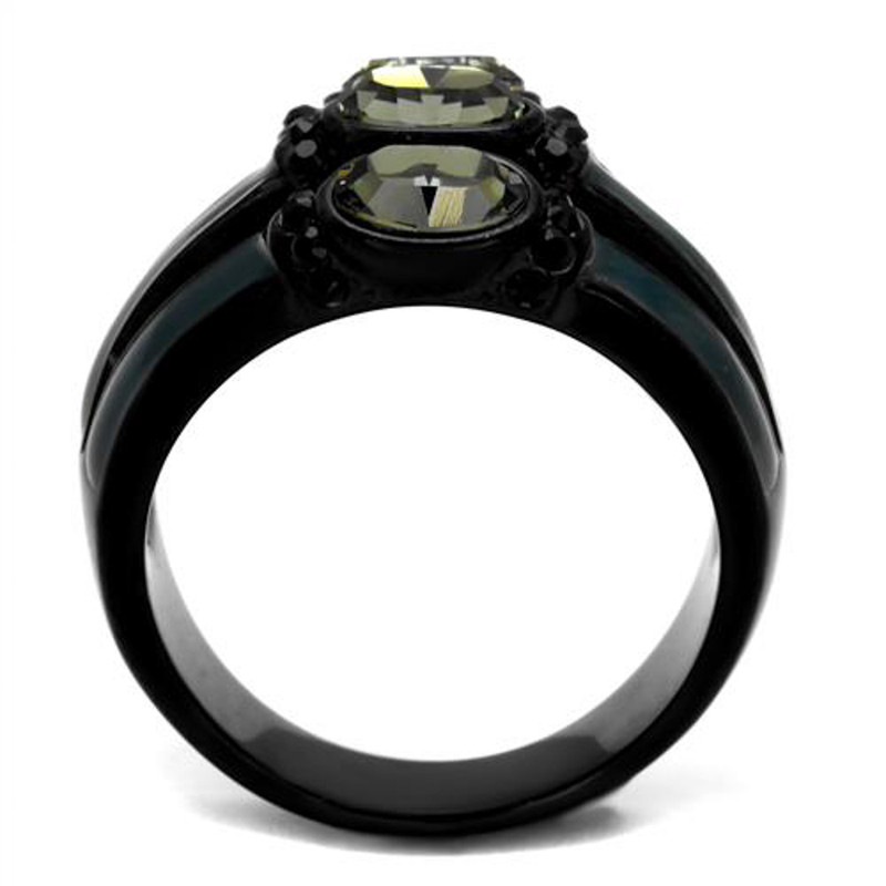 ARTK2214 Stainless Steel Black & Blue IP Black Diamond Crystal Fashion Ring Women Sz 5-10